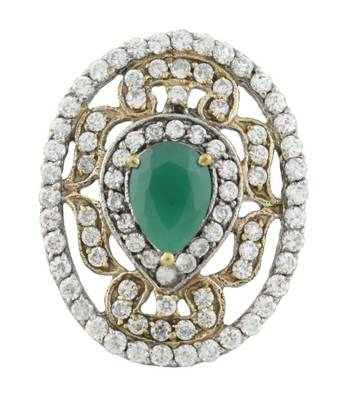 Richly Studded Green Ethnic Ring