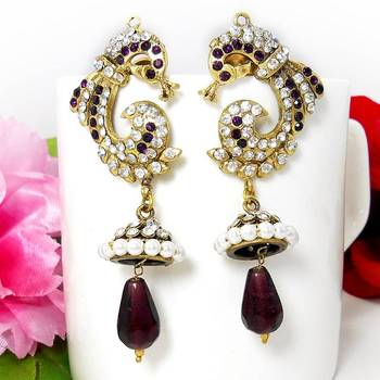Victorian Reverse Peacock Drop Earring Violet Shady