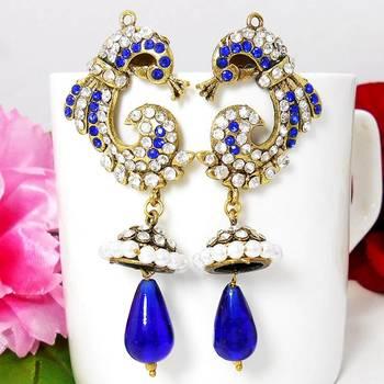 Victorian Reverse Peacock Drop Earring Royal Blues