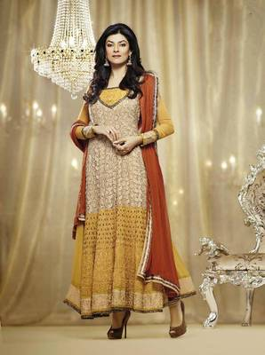 Sushmits Sen Enigmatic Cream and Golden Orange Embroidery Salwar Kameez