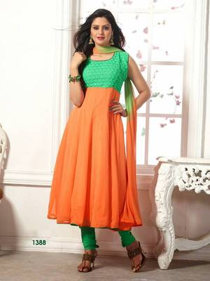 Designer Green & Orange Georgette Anarkali