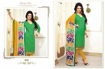 Designer Green And Yellow Chanderi jacquard Salwar