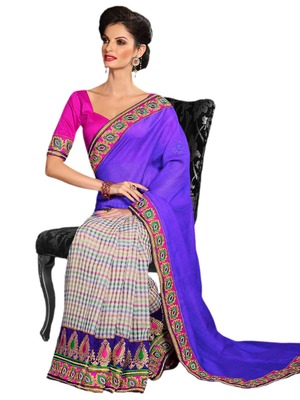 Hypnotex Purple Nylon Supernet Saree
