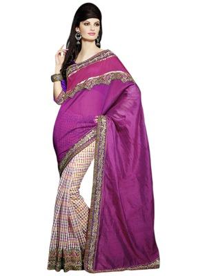 Hypnotex Pink Art silk Super net Saree