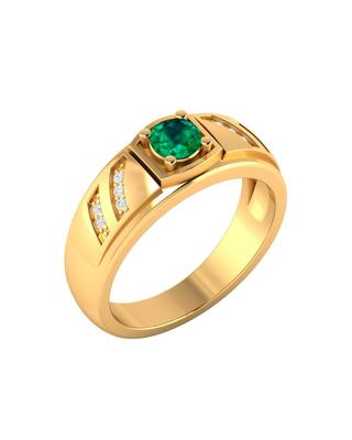 Gold Plated Green Emerald Decked Solitaire Ring