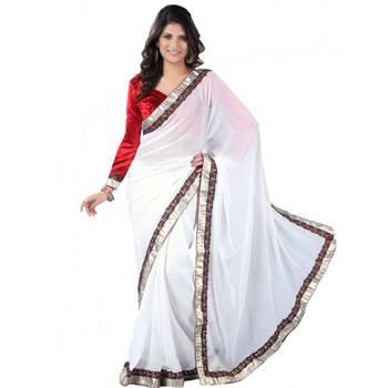 Fabulous White Chiffon Saree with Free Size Stitched Velevet Blouse