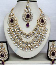 Buy Purple stone three line Wedding Necklace set necklace-set online