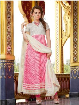 Cotton Jaquard Pink Anarkali SC3009A