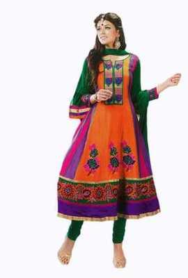 Salwar Studio Orange & Green Pure Chanderi unstitched churidar kameez with dupatta Gulnaar-24010