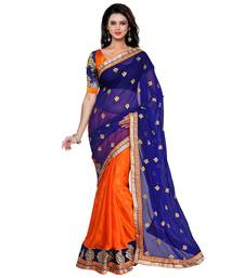 Buy orange printed georgette saree With Blouse fashion-deal online