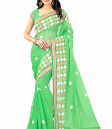 Buy Designer, Embroidered, Chiffon Green single color saree with unstitched blouse piece chiffon-saree online