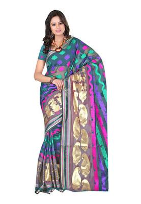 Fabdeal Teal Colored Banarasi Cotton Printed Saree