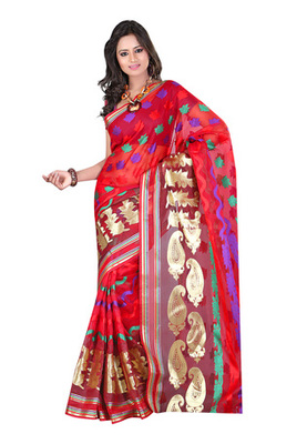 Fabdeal Red Colored Banarasi Cotton Printed Saree