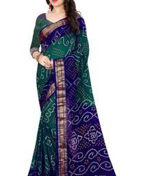 Buy Bandhani Saree (Green hand woven Bandhani saree With Blouse) bandhani-sarees-bandhej online