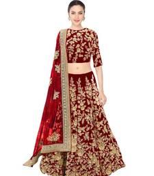 Buy Fabron Maroon dori work semi velvet semi stitched lehenga choli material with matching net dupatta lehenga-choli online