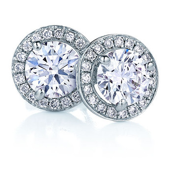 Cara Simple is Me Round Swarovki stone and silver earrings for Women