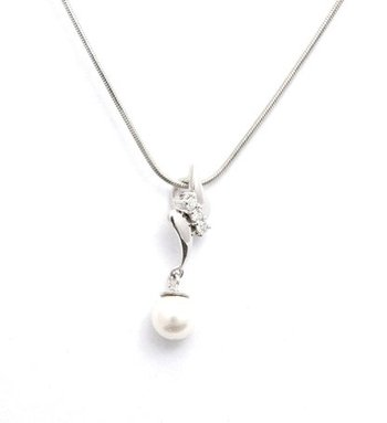 Cara sterling silver and  certified Swarovski stone Pearl Drop Pendant