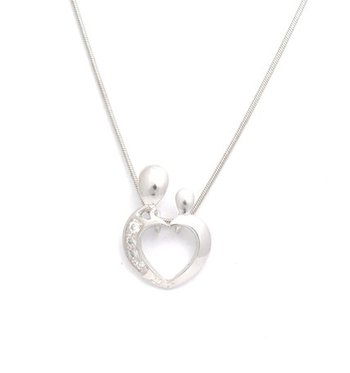 Cara sterling silver and  certified Swarovski stone You and Me pendant