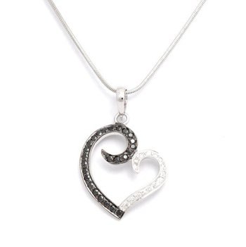 Cara sterling silver and  certified Swarovski stone Black and White Heart pendant