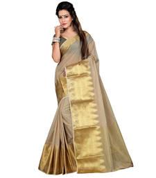 Buy beige woven art silk saree with blouse kerala-saree online