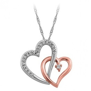 Cara sterling silver and  certified Swarovski stone Silver and Rose Gold Heart Pendant