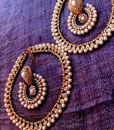 Buy Earring & Anklet Combination 7 : White diamentes pearl payal & pearl earring cb7 anklet online