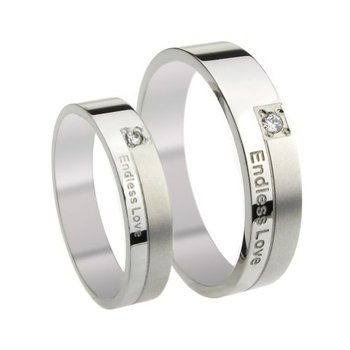 Cara sterling silver and  certified Swarovski stone Endless Love couple bands