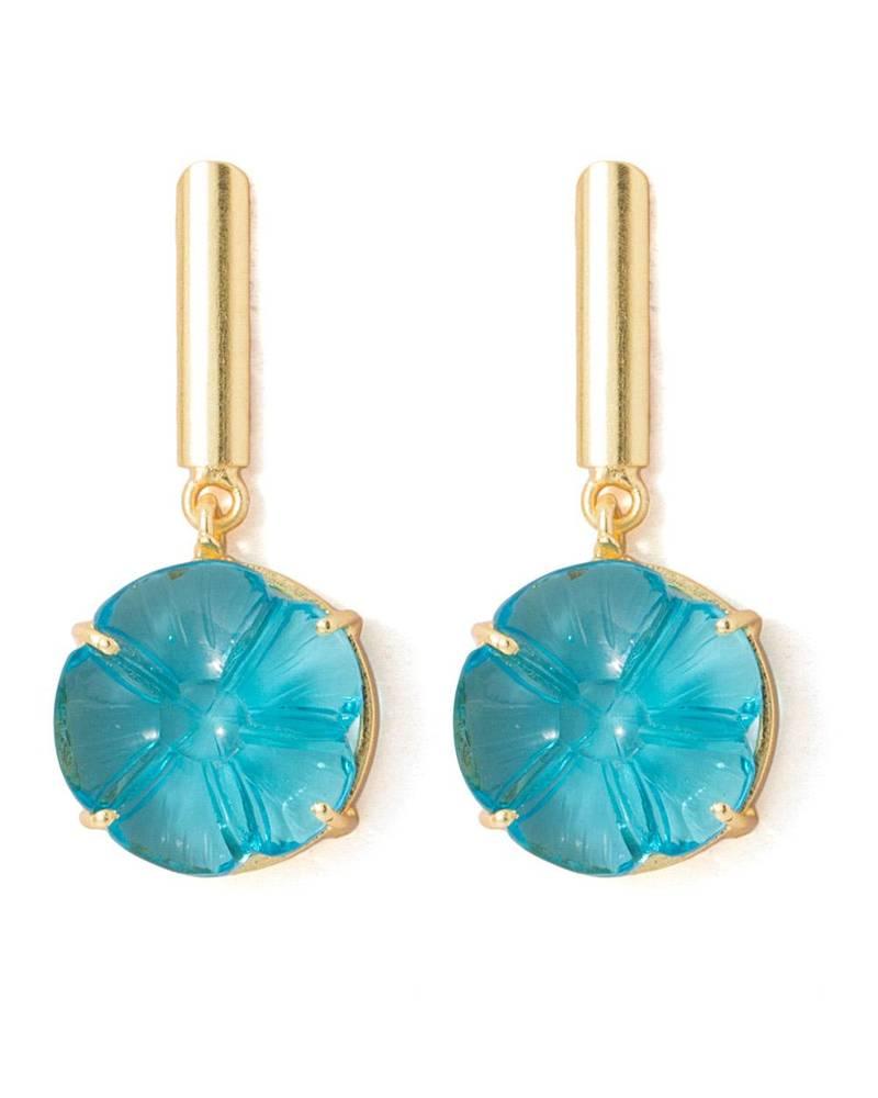Buy Blue Floral Carved Stone Studded Dangler Earrings Online