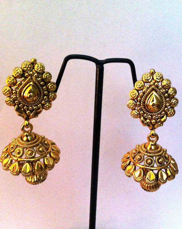 Buy Pure golden finish ethnic south Indian style jhumka Online