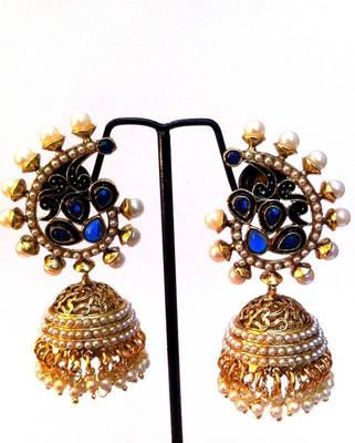 Very intricate blue stone work beautiful ethnic pearl jhumka