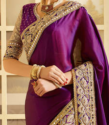 Buy VIOLET Embroidered art silk saree With Blouse art-silk-saree online