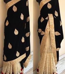 Buy BLACK Embroidered chiffon saree With Blouse black-friday-deal-sale online