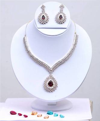 American Diamond Changeable Stone Necklace Set