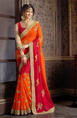 georgette saree by kmozi (Orange & Red)