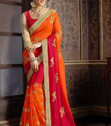 Buy georgette saree by kmozi (Orange & Red) party-wear-saree online