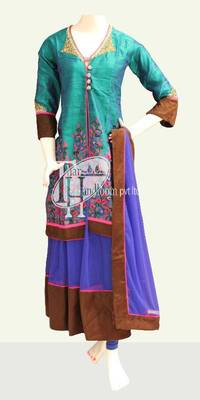 Blue with C green beautiful embroidery work replica