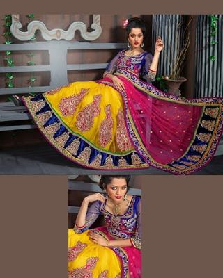 Mustard Yellow And Pink Wedding Wear Net Designer Lehenga Choli