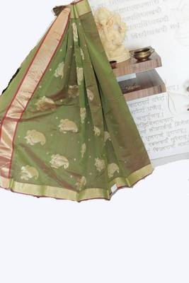 Olive Green Chanderi Saree in Dhoop Chaun effect with Red Undertone