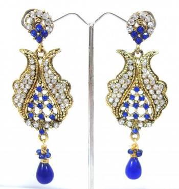 Royal blue cz gold tone long dangle earring a13
