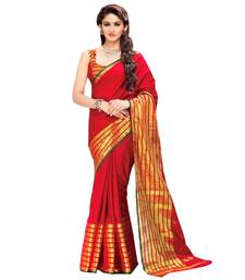 Buy red woven cotton saree With Blouse handloom-saree online