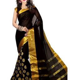 Buy Black Golden Goli with Embroidery work cotton saree cotton-saree online