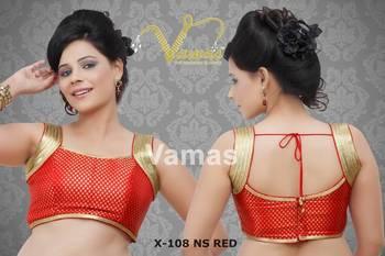 Brocade Readymade Sleeveless Saree Blouse. X108nsre Red