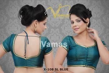 Brocade Readymade Sleeveless Saree Blouse. X108nsbl Blue