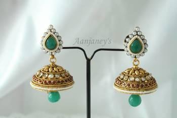 Designer Earrings Jhumkas Indian Traditional Trendy Ethnic Handmade Pearl Stone