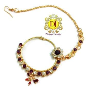 India bridal wear, Purple beaded bridal nose ring mauve