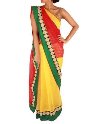 Yellow/Red Khadi finish Saree with Floral Border