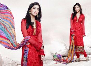 Hypnotex Red Pure Chiffon Anarkali Salwar Kameez