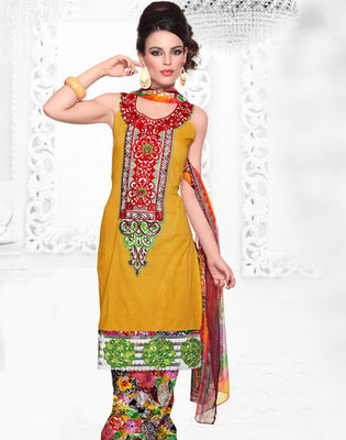 Hypnotex Yellow Cotton Dress Materials