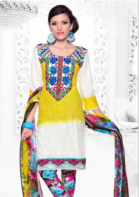 Hypnotex Yellow and Off White Cotton Dress Materials