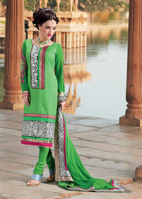 Hypnotex Green Pure Banarasi Jacquard Dress materials